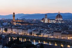 Arno river and Ponte Vecchio in Florence at night Stock Photo