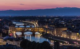 Arno river and Ponte Vecchio in Florence at night Stock Image