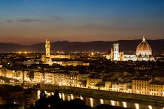 Arno river and Ponte Vecchio in Florence at night Royalty Free Stock Image