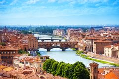 Arno river and Ponte Vecchio. Panorama of Florence stock photography