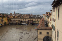 Arno river and Ponte Vecchio after rain from Uffizi Gallery. Florence. Italy. Royalty Free Stock Photos