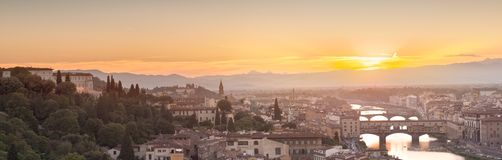 Arno River and Ponte Vecchio at sunset, Florence Stock Image