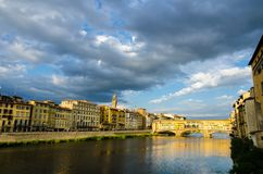 Arno river and Ponte Vecchio at sunset, Florence, Italy Royalty Free Stock Photography