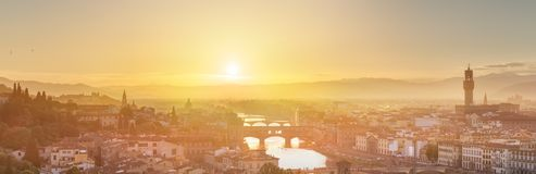 Arno River and Ponte Vecchio at sunset, Florence Royalty Free Stock Image