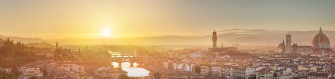 Arno River and Ponte Vecchio at sunset, Florence Stock Photos