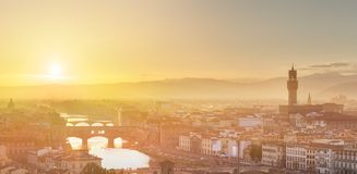 Arno River and Ponte Vecchio at sunset, Florence Royalty Free Stock Photo