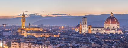 Arno River and Ponte Vecchio at sunset, Florence Royalty Free Stock Photography