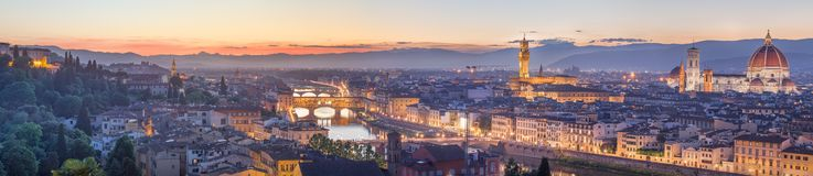 Arno River and Ponte Vecchio at sunset, Florence Royalty Free Stock Images