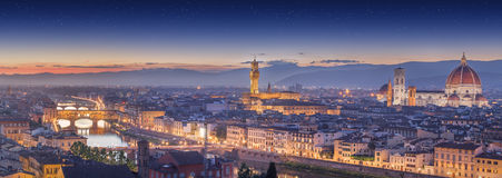 Arno River and Ponte Vecchio at sunset, Florence Royalty Free Stock Photos