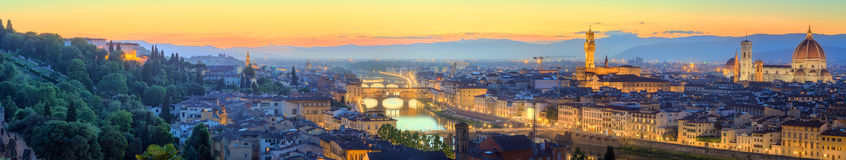 Arno River and Ponte Vecchio at sunset, Florence. Arno River, Ponte Vecchio, Vecchio Palace, Basilica of Santa Croce at sunset Florence stock photo