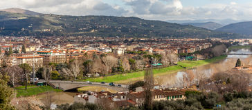 Arno River And San Niccolò Bridge - Panoramic Stock Photo