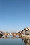 Arno river at Santa Trinita bridge Stock Images