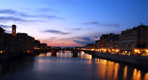 Arno River sunset in Florence,Italy. On the right side is the famous Gallery of UFFIZI stock images