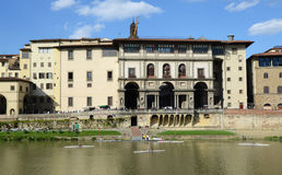 Arno river and Uffizi gallery. Uffizi Gallery and Vasari Corridor Walking Tour Royalty Free Stock Photos