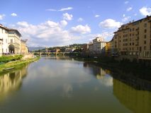 The Arno River. View of the Arno River in Florence, Italy from the Ponte Vecchio royalty free stock photography