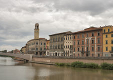 Arno River and waterfront buildings, Pisa Royalty Free Stock Images