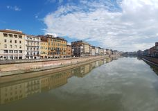 Arno River, waterway, reflection, water, sky. Arno River is waterway, sky and canal. That marvel has reflection, river and cloud and that beauty contains water stock photography