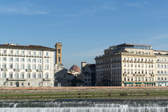 Arno river weir in Florence, Italy Royalty Free Stock Photography