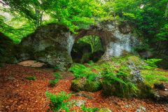 Arno rock arch at Entzia forest Royalty Free Stock Image