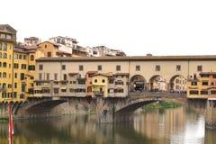 Arno rzeka Vecchio w Florencja 001 i Ponte Obraz Stock