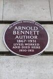 Arnold Bennett Plaque à Londres Photos stock