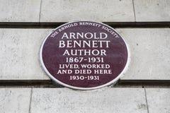 Arnold Bennett Plaque i London Arkivfoton