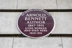 Arnold Bennett Plaque in Londen Stock Foto's