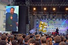 Arnold Schwarzenegger en la cumbre de mundo austríaca, Viena foto de archivo libre de regalías