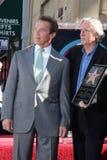 Arnold Schwarzenegger, James Cameron fotos de archivo