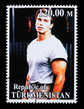 Arnold Schwarzenegger Postage Stamp. REPUBLIC OF TURKMENISTAN - CIRCA 2005: A postage stamp printed in Turkmenistan showing  Arnold Schwarzenegger, circa 2005 Royalty Free Stock Images