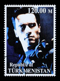 Arnold Schwarzenegger Postage Stamp. REPUBLIC OF TURKMENISTAN - CIRCA 2005: A postage stamp printed in Turkmenistan showing  Arnold Schwarzenegger, circa 2005 Stock Photo