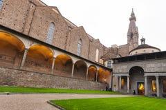 Arnolfo cloister Basilica Santa Croce in evening Royalty Free Stock Photo