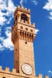 Arnolfo-` s Turm, Teil von Palazzo Vecchio der alte Palast auf Marktplatz della Signoria, Florenz Stockfoto