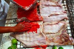arnoty fillet ryba piec na grillu kumberlandu czerwonego tikinchik Obrazy Royalty Free