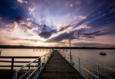 Żarnowieckie Lake. Beautiful lake in Poland with pier Stock Image