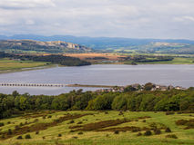Arnside knot. The river Kent estuary from the top of Arnside Knot in late summer sunshine, Arnside, Cumbria, UK royalty free stock photography