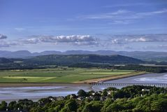 Arnside Viaduct and the Lake District Fells Royalty Free Stock Photos