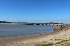 Arnside wiadukt, Arnside molo, Rzeczny Kent ujście Obraz Royalty Free