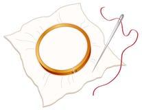 Aro, aguja y cuerda de rosca de bordado Foto de archivo libre de regalías