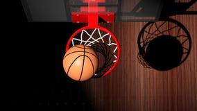 Aro de baloncesto con la bola stock de ilustración