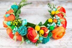 Aro de la turquesa de las flores, accesorios del pelo Foto de archivo