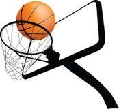 Aro y bola de baloncesto stock de ilustración