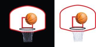 Aro y bola de baloncesto Fotografía de archivo libre de regalías