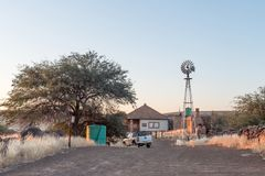 Scanskolk near Klein Menasse Border Post offers selfcatering and. AROAB, NAMIBIA - JULY 6, 2017: A sunrise view of the farm Scanskolk, on the C16-road near Klein Royalty Free Stock Photography