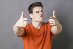 Arogancki i agresywny ręka gest dla gwałtownej postawy Zdjęcia Stock