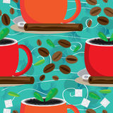Aroma Around Coffee Seamless Pattern_eps. Illustration of aroma around coffee seamless pattern on green background. --- This .eps file info Version: Illustrator royalty free illustration