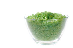 Aroma bath. Green salt for aromatic bath in glass transparent dish Stock Images
