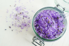 Aroma bath salt with lavender extract and dried lavender Stock Photography