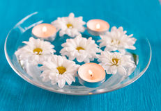 Aroma Bowl  candles and flowers Royalty Free Stock Images