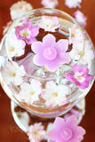 Aroma Bowl with Candles and Flowers. Aroma Bowl with lilac Candles and Flowers Royalty Free Stock Images